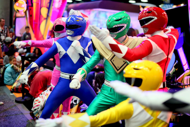A group of Power Rangers pose inside the Convnetion Center at the 2015 Comic-Con International in San Diego, California July 9, 2015. REUTERS/Sandy Huffaker ORG XMIT: SAH022