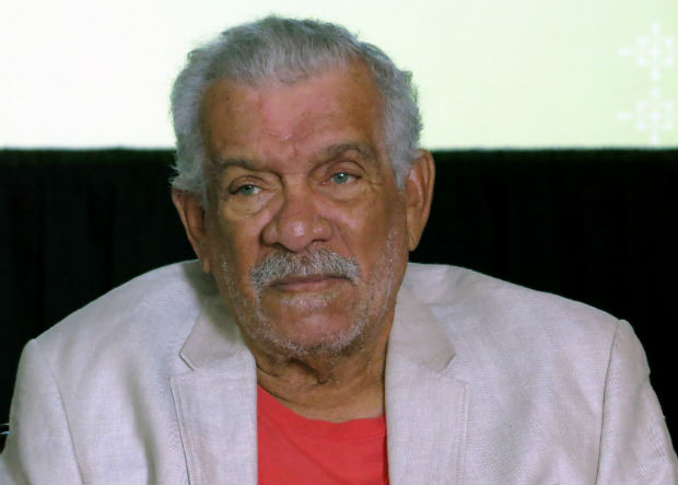 FILE - In this Tuesday April 1, 2014, file photo, the recipient of the 1992 Nobel Prize in Literature Derek Walcott attends a news conference in Mexico City. Walcott, known for capturing the essence of his native Caribbean and became the region's most internationally famous writer, died early Friday, March 17, 2017, on the island of St. Lucia, according to his son, Peter. (AP Photo/ Berenice Bautista, File) ORG XMIT: NYAG508