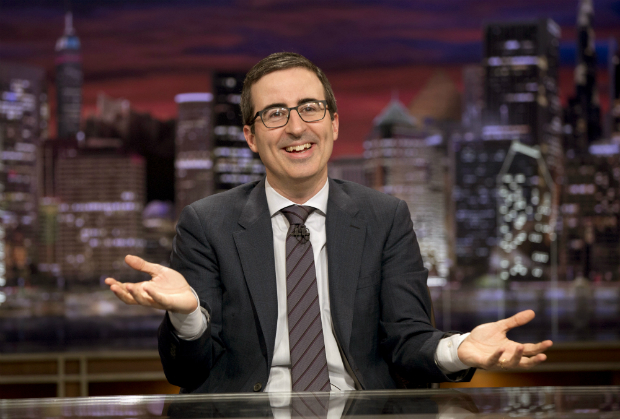 "This Oct. 18, 2015 image released by HBO shows John liver from """"Last Week Tonight with John Oliver."" Oliver begins a new round of his comedy show on Feb. 14. (Eric Liebowitz/HBO via AP) ORG XMIT: NYET332"