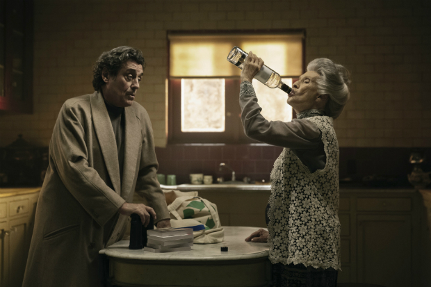 "This image released by Starz shows Ian McShane, left, and Cloris Leachman in a scene from, ""American Gods."" premiering April 30 at 9 p.m. (Jan Thijs/Starz via AP) ORG XMIT: NYET263"
