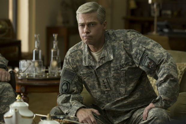 "This image released by Netflix shows Brad Pitt in a scene from ""War Machine."" (Francois Duhamel/Netflix via AP) ORG XMIT: NYET728"