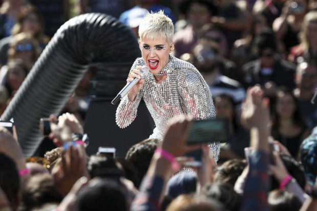 Katy Perry performs during 'Katy Perry - Witness World Wide' exclusive YouTube Livestream Concert at Ramon C. Cortines School of Visual and Performing Arts on Monday, June 12, 2017, in Los Angeles. (Photo by John Salangsang/Invision/AP) ORG XMIT: CAJS202