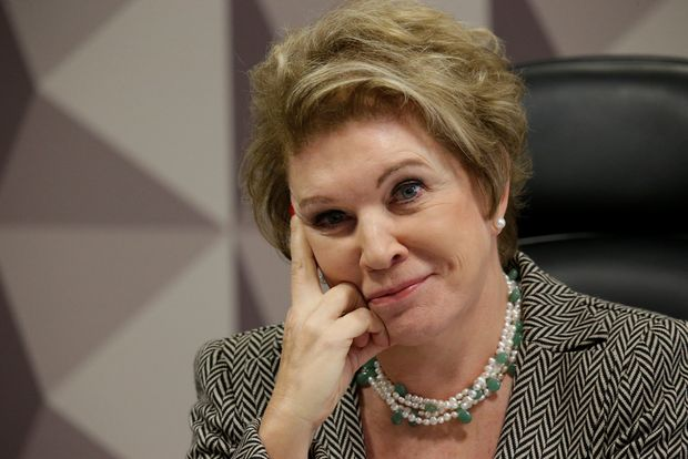 Senator Marta Suplicy gestures during a meeting at Economic Affairs Committee (CAE) of the Brazilian Federal Senate in Brasilia, Brazil June 20, 2017. REUTERS/Ueslei Marcelino ORG XMIT: UMS10