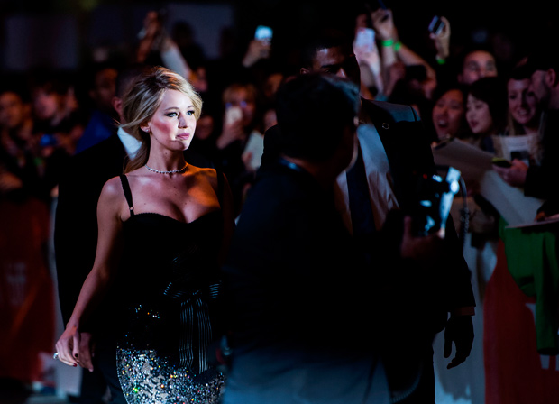 "Actress Jennifer Lawrence attends the ""Mother!"" premiere on day four of the Toronto International Film Festival at the Princess of Wales Theatre on Sunday, Sept. 10, 2017, in Toronto. (Nathan Denette/The Canadian Press via AP) ORG XMIT: NSD132"