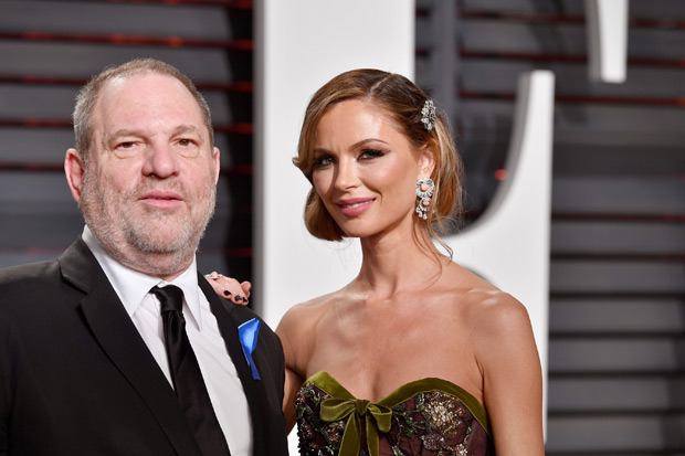 "(FILES) This file photo taken on February 25, 2017 shows Co-Chairman, The Weinstein Company Harvey Weinstein (L) and fashion designer Georgina Chapman attending the 2017 Vanity Fair Oscar Party hosted by Graydon Carter at Wallis Annenberg Center for the Performing Arts in Beverly Hills, California. Meryl Streep famously called him ""God"" but Harvey Weinstein has emphatically fallen to Earth amid lurid accusations of sexual harassment that threaten to end his glittering career. The Oscar-winning movie mogul, one of Hollywood's most influential powerbrokers who was able to make or break careers, was forced out of his own company on October 8, 2017 as the scandal mushroomed. The Weinstein Company's board said it had sacked him ""in light of new information about misconduct"" in an explosive New York Times article detailing decades of legal settlements stemming from sexual harassment allegations by numerous women. / AFP PHOTO / GETTY IMAGES NORTH AMERICA / PASCAL LE SEGRETAIN"