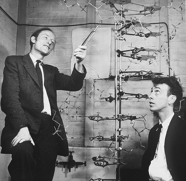 Francis Crick (� esq.) e James Watson, dupla que descobriu a estrutura do DNA
