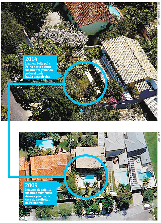 It is possible to see that a swimming pool disappeared from the coastline property, located in a condominium in Barra da Tijuca