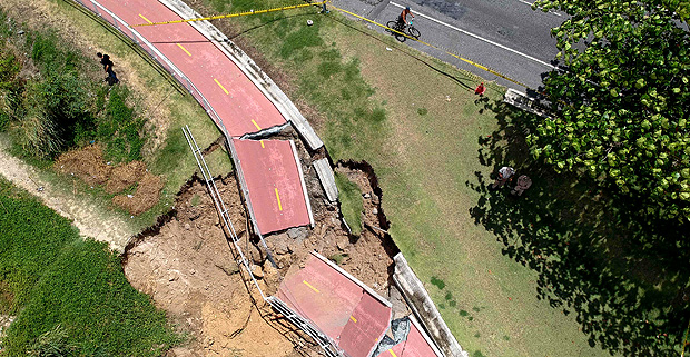 View of a bicycle lane which collapsed after being hit by a violent storm in Sao Conrado beach, Rio de Janeiro, Brazil