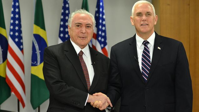 Brazilian President Michel Temer and US Vice President Mike Pence