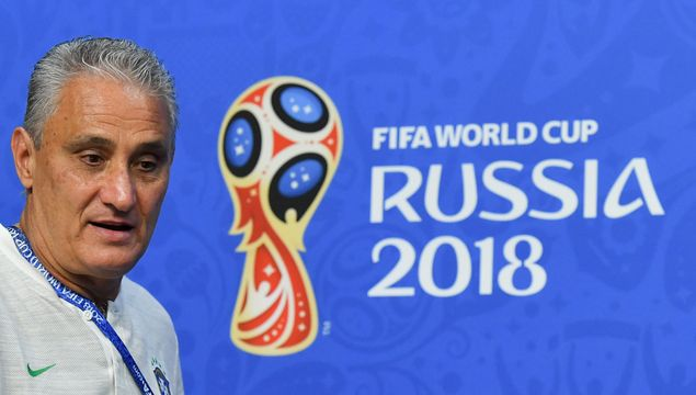 Brazil's coach Tite arrives to a press conference at the Samara Arena stadium on the eve of the Russia 2018 World Cup round of 16 football match between Brazil and Mexico on July 1, 2018 in Samara