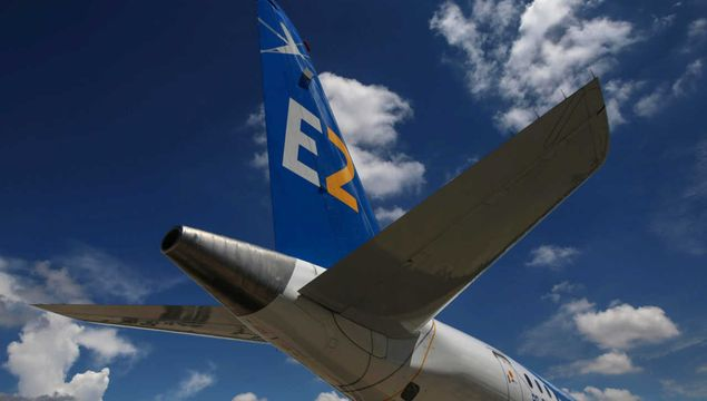 The the E195-E2 commercial jet's first prototype was pictured in Sao Jose dos Campos, Brazil