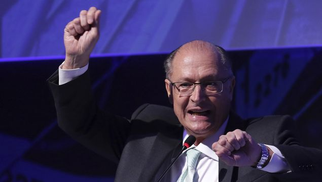 "Presidential hopeful, former governor of Sao Paulo, Geraldo Alckmin, speaks during the ""Mobility Forum ANPTrilhos"" in Brasilia, Wednesday, July 18, 2018. The Mobility Forum is a discussion with potential presidential nominees on issues related to urban mobility and public transport"