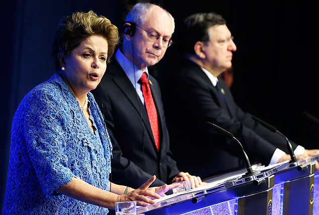 Brazil's President Dilma Rousseff, European Council President Herman Van Rompuy and EU Commission President Jose M. Barroso