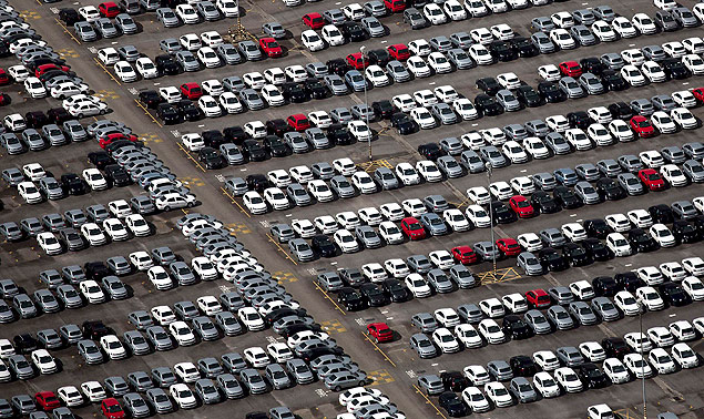 An aerial view of new cars parked at a stock area of the Volkswagen German automaker plant in São Jose dos Campos, near São Paulo