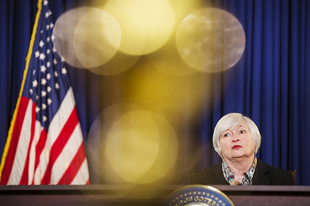 Presidente da Fed, Janet Yellen durante entrevista coletiva no comitê de mercado, em Washington