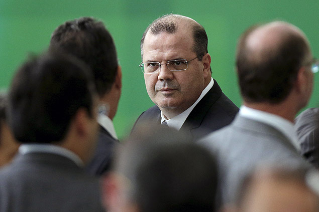 Brazil's Central Bank Alexandre Tombini looks on before a inauguration ceremony for new Finance Minister Nelson Barbosa at Planalto Palace