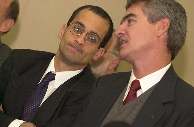 Newton de Souza (R), current president of Odebrecht group, and Marcelo Odebrecht (L), former CEO, now in prison