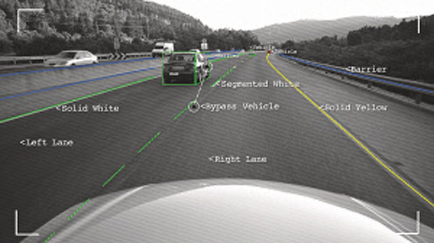 In an undated handout image, road information and objects are identified by the Mobileye system. A number of devices and services are promising to equip aging vehicles with modern safety features like rearview cameras and driver alert systems. (MobileEye via The New York Times) -- NO SALES; FOR EDITORIAL USE ONLY WITH STORY SLUGGED AUTOS-TECH-SAFETY BY QUAIN. ALL OTHER USE PROHIBITED. --