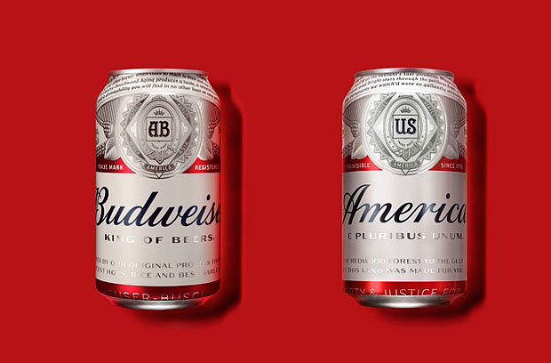 "This photo provided by Anheuser-Busch shows a normal Budweiser can, at left, and at right, a can with the new ""America"" packaging. Budweiser, now owned by Belgium's AB Inbev, will rename its beer ""America"" during the summer of 2016 and alter its labels with images and phrases affiliated with the republic. The campaign, called ""America is in Your Hands,"" will run from May 23 through November and will include on cans and bottles passages ranging from the Pledge of Allegiance to lyrics from ""The Star Spangled Banner"" and ""America the Beautiful."" (Martin Wonnacott/Courtesy of Anheuser-Busch via AP) MANDATORY CREDIT ORG XMIT: NYBZ290"