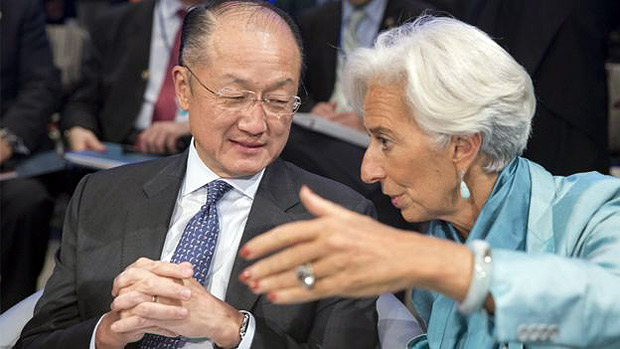 Jim Yong, do Banco Mundial, e Christine Lagarde, do FMI