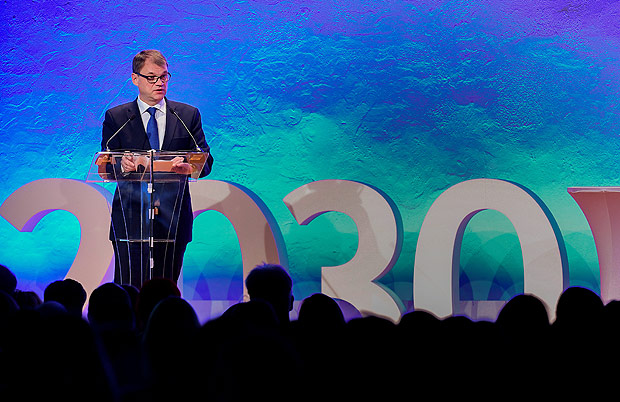 Finland's Prime Minister Juha Sipila gives a speech during the opening of the 7th Strategy Forum of the The European Union Strategy for the Baltic Sea Region (EUSBSR), in Stockholm, Sweden, November 8, 2016. TT News Agency/Jonas Ekstromer/via REUTERS ATTENTION EDITORS - THIS IMAGE WAS PROVIDED BY A THIRD PARTY. FOR EDITORIAL USE ONLY. SWEDEN OUT. NO COMMERCIAL SALES. ORG XMIT: GDY802