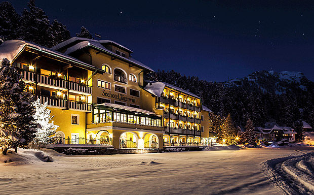 This photo, dated Dec. 2016, shows the Romantik Seehotel Jaegerwirt, a hotel in the Austrian Alps at Turracher Hoehe. The hotel's management says it is ditching its electronic room cards for the old-fashioned locks and keys after being repeatedly targeted by hackers. One recent intrusion resulted in new guests being briefly unable to access their rooms. (Seehotel Jaegerwirt via AP) ORG XMIT: LGL201