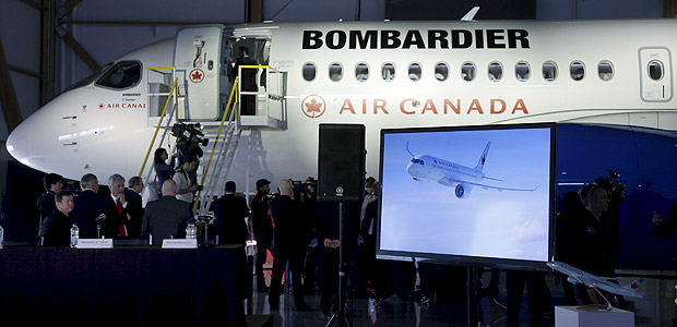 A Bombardier CSeries100 aircraft is seen during a news conference in Montreal, February 17, 2016. REUTERS/Christinne Muschi ORG XMIT: CMU06