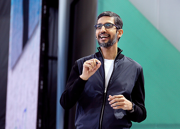 Google CEO Sundar Pichai delivers the keynote address of the Google I/O conference, Wednesday, May 17, 2017, in Mountain View, Calif. Google provided the latest peek at the digital services and gadgets that it has assembled in the high-tech tussle to become an even more influential force in people's lives. (AP Photo/Eric Risberg) ORG XMIT: CAER102