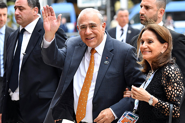Organisation for Economic Co-operation and Development (OECD) Secretary-General Angel Gurria arrives for a G7 summit of Finance Ministers on May 11, 2017 in Bari. / AFP PHOTO / Alberto PIZZOLI