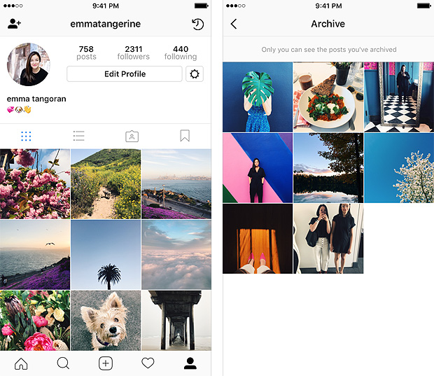 Interface do aplicativo Instagram
