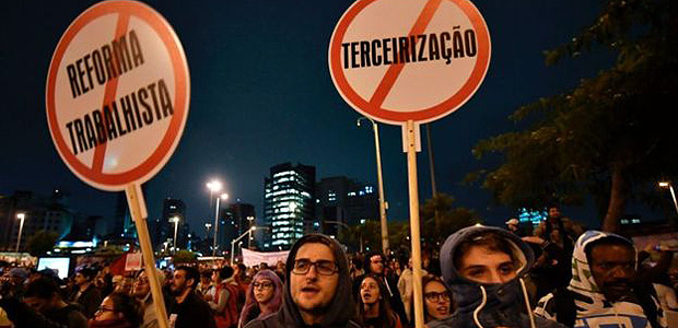 Protest against the reform of labor laws in Brazil