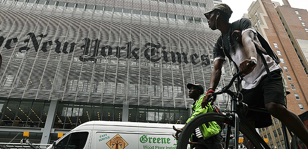 NEW YORK, NY - JULY 27: The New York Times building stands in Manhattan on July 27, 2017 in New York City. The New York Times Company shares have surged to a nine-year high after posting strong earnings on Thursday. Partly due to new digital subscriptions following the election of Donald Trump as president, the company reported a profit of $27.7 million in the second quarter, up from $9.1 million in the same period last year. Spencer Platt/Getty Images/AFP == FOR NEWSPAPERS, INTERNET, TELCOS & TELEVISION USE ONLY ==