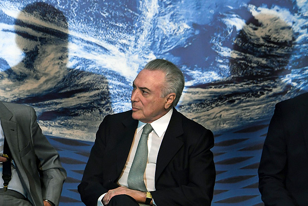 Brazilian President Michel Temer attends the opening ceremony of Brazil's National Foreign Trade Meeting (ENAEX), in Rio de Janeiro, Brazil, on August 9, 2017. / AFP PHOTO / Apu Gomes