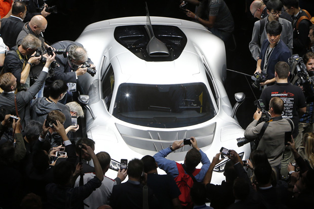 8c31237535a Visitors surround the Mercedes-AMG Project One hyper car during the first  media day of