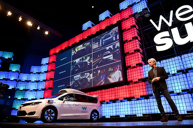 Waymo CEO John Krafcik delivers a speech about self-driving cars at the 2017 Web Summit in Lisbon on November 7, 2017. Europe's largest tech event Web Summit is held at Parque das Nacoes in Lisbon from November 6 to November 9.