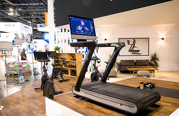 A $3,995 treadmill that Peloton unveiled at the International Consumer Electronics Show in Las Vegas, Jan. 8, 2018. It includes a 32-inch screen for viewing the company's on-demand fitness classes. The company's insight: The gadget is not as important as the service. (Roger Kisby/The New York Times)