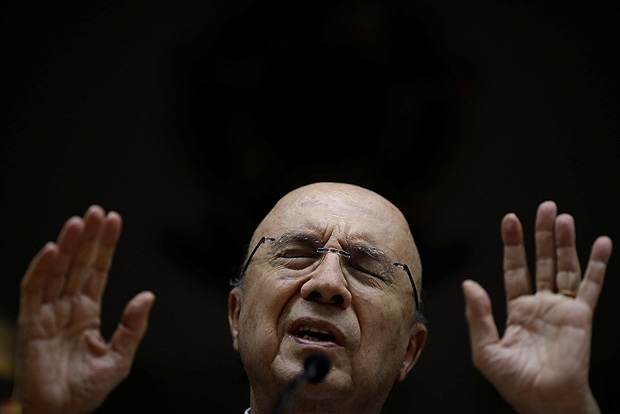 Brazil's Finance Minister Henrique Meirelles reacts during a news conference in Brasilia, Brazil January 12, 2018. REUTERS/Ueslei Marcelino ORG XMIT: UMS3