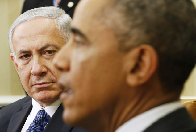 U.S. President Barack Obama (R) meets with Israel's Prime Minister Benjamin Netanyahu at the White House in Washington October 1, 2014. REUTERS/Kevin Lamarque (UNITED STATES - Tags: POLITICS) ORG XMIT: WASW201