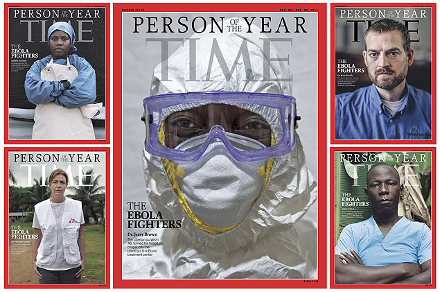 """This image courtesy of TIME shows the Person of the Year cover(C) for December 22/December 29, 2014. TIME also photographed four other cover subjects Salome Karwah(L), an Ebola survivor who lost both her parents to the disease and now counsels patients in Liberia; Ella Watson-Stryker(bottom L), an American health educator for MSF who has been helping fight Ebola in West Africa since March; Foday Gallah(bottom R), an ambulance supervisor and Ebola survivor in Monrovia, and Dr. Kent Brantly(R), who was running an Ebola treatment center in Monrovia when he became the first American to be infected. Time magazine on December 10, 2014 named as its """"Person of the Year 2014"""" the medics treating the Ebola epidemic that has killed more than 6,300 people, paying tribute to their courage and mercy. The haemorrhagic fever mushroomed from an outbreak into an epidemic in Liberia, Guinea and Sierra Leone, and there have been scattered cases in Nigeria, Mali, Spain, Germany and the United States.""""The rest of the world can sleep at night because a group of men and women are willing to stand and fight,"""" wrote Time editor Nancy Gibbs, announcing the prestigious annual title.""""For tireless acts of courage and mercy, for buying the world time to boost its defenses, for risking, for persisting, for sacrificing and saving, the Ebola fighters are Time's 2014 Person of the Year."""" AFP PHOTO/TIME/HANDOUT = RESTRICTED TO EDITORIAL USE / MANDATORY CREDIT: """"AFP PHOTO HANDOUT-TIME""""/ NO MARKETING - NO ADVERTISING CAMPAIGNS/ - NO A LA CARTE SALES / DISTRIBUTED AS A SERVICE TO CLIENTS / = ORG XMIT: LJM02"""