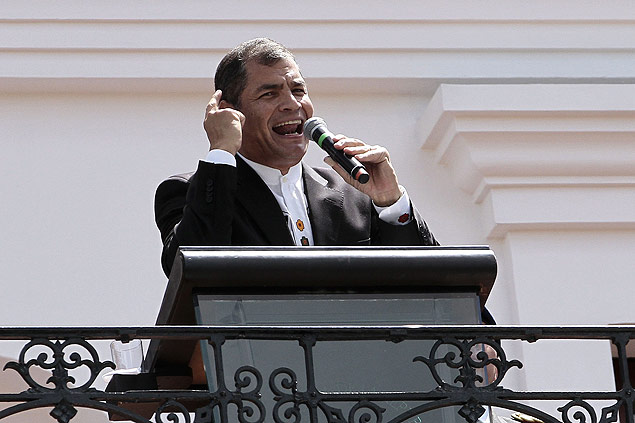 O presidente do Equador, Rafael Correa, durante discurso na capital do pa�s, Quito, no m�s passado