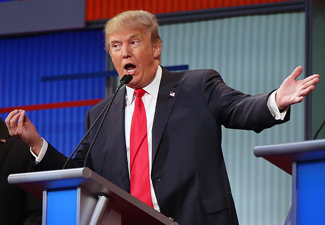 Republican presidential candidate Donald Trump answers a question during the first Republican presidential debate at the Quicken Loans Arena Thursday, Aug. 6, 2015, in Cleveland. (AP Photo/Andrew Harnik) ORG XMIT: OHAH514