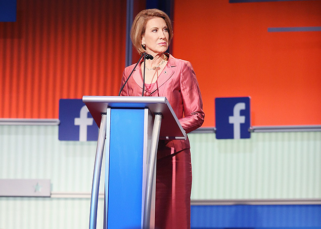 CLEVELAND, OH - AUGUST 06: Rebulican presidential candidate Carly Fiorina fields a question during a presidential forum hosted by FOX News and Facebook at the Quicken Loans Arena August 6, 2015 in Cleveland, OH. Seven GOP candidates were selected to participate in the forum based on their rank in an average of the five most recent national political polls. The top ten polling Republican candidates will participate in a debate following the forum. Scott Olson/Getty Images/AFP == FOR NEWSPAPERS, INTERNET, TELCOS & TELEVISION USE ONLY ==