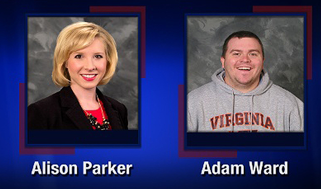 "This TV video frame grab courtesy of WDBJ7-TV in Roanoke, Virginia shows two WDBJ7 employees killed in an attack at Bridgewater Plaza in Moneta, Virginia on August 26, 2015. The crime happened during a live broadcast around 6:45 a.m ET. Police are looking for a suspect who apparently opened fire on WDBJ7's photographer Adam Ward and reporter Alison Parker. Adam was 27-years-old and Alison just turned 24. Both were from the WDBJ7 viewing area. Bridgewater Plaza is on Smith Mountain Lake. Adam graduated from Salem High School and Virginia Tech. Alison grew up in Martinsville and attended Patrick Henry Community College and James Madison University. AFP PHOTO/WDBJ7/HANDOUT = RESTRICTED TO EDITORIAL USE - MANDATORY CREDIT ""AFP PHOTO /WDBJ7-TV "" - NO MARKETING NO ADVERTISING CAMPAIGNS - DISTRIBUTED AS A SERVICE TO CLIENTS = ORG XMIT: LJM002"