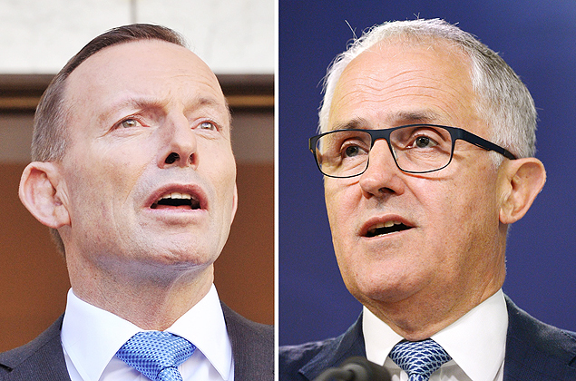 (FILES) This combo of file photos shows Australia's Communications Minister Malcolm Turnbull (R) speaking at a press conference in Sydney September 24, 2013 and Australian Prime Minister Tony Abbott (L) speaking to the media during a press conference at Parliament House in Canberra on September 9, 2015. Turnbull on September 14, 2015 announced he would challenge Prime Minister Tony Abbott for the leadership, saying the country needed a new style of leadership after resigning as communications minister. AFP PHOTO / FILES / Greg WOOD / Mark GRAHAM ORG XMIT: CBR021
