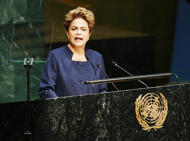 MCX02. New York (United States), 27/09/2015.- President Dilma Rousseff of Brazil delivers her address during the United Nations Sustainable Development Summit which is taking place for three days before the start of the 70th session General Debate of the United Nations General Assembly at United Nations headquarters in New York, New York, USA, 27 September 2015. (Brasil, Estados Unidos) EFE/EPA/MATT CAMPBELL ORG XMIT: MCX02