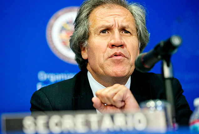 FILE - In this June 16, 2015 file photo, Secretary General Luis Almagro speaks to the media during a news conference at the 45th Organization of American States (OAS) General Assembly, in Washington. Almagro says that the banning or jailing of several candidates and the opposition's limited access to mass media are tilting the campaign in favor of pro-government candidates. His 18-page letter addressed to the head of Venezuela's National Electoral Council was published Tuesday, Nov. 10, 2015. (AP Photo/Jacquelyn Martin, File) ORG XMIT: XLAT116