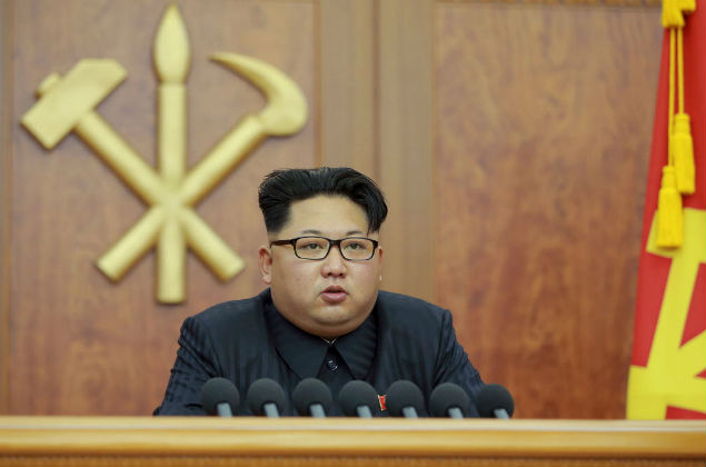 leader Kim Jong Un gives a New Year's address for 2016 in Pyongyang, in this undated photo released by Kyodo January 1, 2016. North Korean leader Kim Jong Un blamed South Korea on Friday for increased mistrust in a New Year speech after a year of heightened tension between the rival countries. Mandatory credit REUTERS/Kyodo ATTENTION EDITORS - THIS PICTURE WAS PROVIDED BY A THIRD PARTY. REUTERS IS UNABLE TO INDEPENDENTLY VERIFY THE AUTHENTICITY, CONTENT, LOCATION OR DATE OF THIS IMAGE. THIS PICTURE IS DISTRIBUTED EXACTLY AS RECEIVED BY REUTERS, AS A SERVICE TO CLIENTS. FOR EDITORIAL USE ONLY. NOT FOR SALE FOR MARKETING OR ADVERTISING CAMPAIGNS. MANDATORY CREDIT