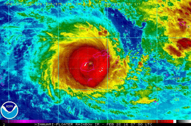 A handout picture provided by the National Oceanic and Atmospheric Administration (NOAA) shows Cyclone Winston over Fiji, 20 February 2016. Airline flights in and out of Fiji were cancelled as a category-5 cyclone bore down on the South Pacific island nation. Cyclone Winston was packing average wind speeds of about 220 kilometres per hour with gusts of up to 315 kmh, the Fiji meteorological service said. Tourist videos showed downed power lines and strong sea swells in low-lying coastal areas as the leading edge of the storm began hitting the islands. (Fiyi) EFE/EPA/NOAA/HANDOUT HANDOUT EDITORIAL USE ONLY
