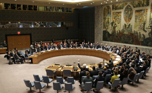 The United Nations Security Council votes on a resolution during a meeting at U.N. headquarters, Wednesday, March 2, 2016. The U.N. Security Council voted Wednesday on a resolution that would impose the toughest sanctions on North Korea in two decades. (AP Photo/Seth Wenig) ORG XMIT: UNSW101