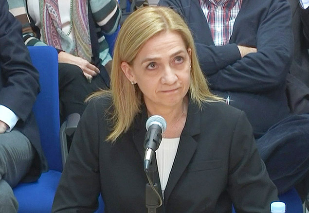Spain's Princess Cristina testifies in court in this still image from video in Palma de Mallorca, Spain, March 3, 2016. REUTERS/BALEARIC ISLANDS HIGH COURT POOL via Reuters TV ORG XMIT: PDH703